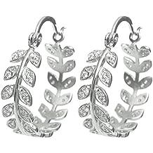Rhodium On 925 Sterling Silver Clear Cz Crystal Olive Leaf Crown Ring Hoop Huggie Earring