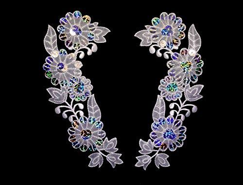 Altotux 6 X 2.5 White Organza Floral Collar Lace Pair Silver Laser Patch Applique By Pair by Altotux White Lace Floral Applique