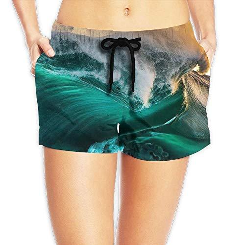 Hwgss Women's Elastic Lounge Shorts Sea Waves Beach Shorts(L) -