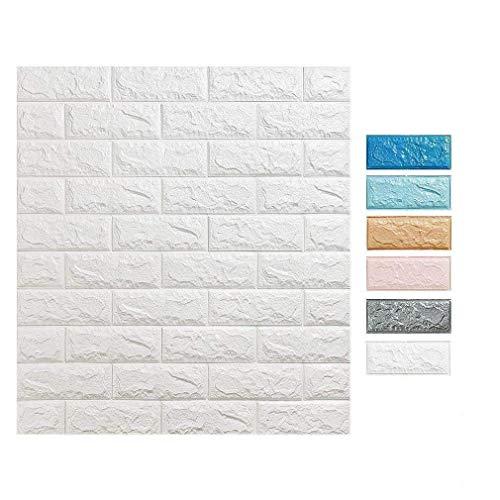 3D Tapete Wandpaneele selbstklebend - Moderne Wandverkleidung in Steinoptik in 6 verschiedenen Farben - schnelle & leichte Montage (10x Stück, Grau) - Tapete Ziegel Grau