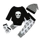 MYQyiyi Bebé Conjuntos Monos Impresa Cabeza de Calavera Tops+Pantalones+Sombrero (6 meses, Negro)