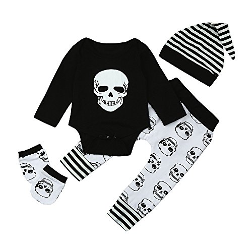 MYQyiyi Bebé Conjuntos Monos Impresa Cabeza de Calavera Tops+Pantalones+Sombrero (24 meses, Negro)