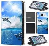 CoverFix Premium Hülle für Samsung Galaxy S5 Mini G800 Flip Cover Schutzhülle Kunstleder Flip Case Motiv (1526 Delphin Delfine Meer Blau Grau)