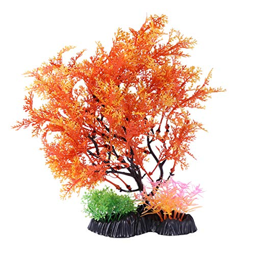 POPETPOP 1 STÜCK Kunststoff Aquarium Simulation Pflanze Baum Aquarium Künstliche Grün Orange Baum Aquarium Ornament Decor (Bäume Orange)