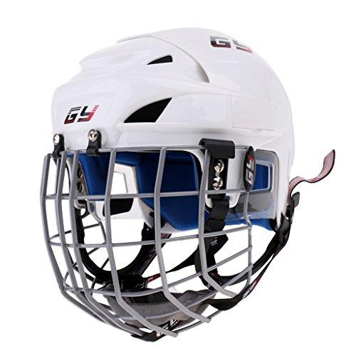P Prettyia Casco para Hockey Sobre Hielo Deporte Patines Unisex Blanco