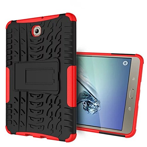 y Tab S2 8.0 Schutzhülle, Armour Hybrid Dual Layer Armor Schwer Cases mit Stand hülle für amsung Galaxy Tab S2 8.0 Zoll SM-T710 T715 T713 T719 Tablet - Rot ()