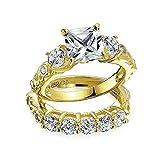 Bling Jewelry Silber vergoldet 2 ct-Princess Verlobung Hochzeit Ring