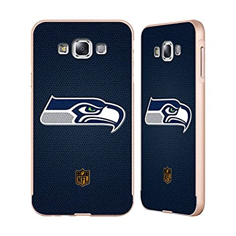 Officiel NFL Football Seattle Seahawks Logo Or Étui Coque Aluminium Bumper Slider pour Samsung Galaxy E7