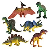 NUOLUX Dinosaur Toy for Kids Tyrannosaurus Stegosaurus Triceratops Utahraptor Spinosaurus Pterosaur Set 6Pcs