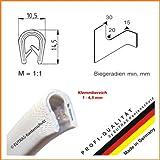EUTRAS Kantenschutz 1176 KS1103 Klemmprofil Keder – Klemmbereich 1-4,5 mm – weiß – 5 m