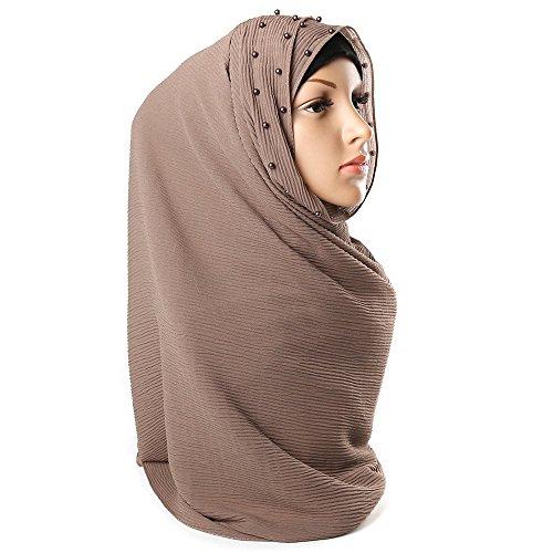WINWINTOM Schal Super Weichen Islam Muslim Einfarbig Damenschal Frauen Mädchen Scarves Frauen Perle Bubble Solid Color Instant Schals Strand Hijab Muslim Schal Schal