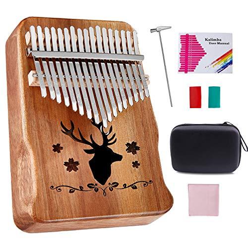 Topnaca Kalimba Daumenklavier 17 Schlüssel, Akazienholz, Marimbaphone instrument mit Stimmhammer, Klaviertasche, Studienanleitung, Weihnachtsgeschenk für Kinder Anfänger