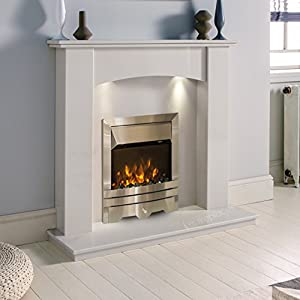 White Marble Stone Modern Curved Surround Electric LED Fireplace Suite Wall Silver Electric Fire Moving Flame Effect & Downlights