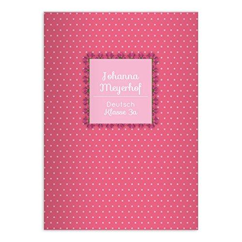 2 personalisierte, Fröhliche Pünktchen DIN A5 Schulhefte, Rechenhefte für Mädchen auf rosa Lineatur 10 (kariertes Heft)
