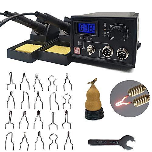 lstation Dual Holzbrenner mit Halterung,Pyrographie Maschine 60W 220V mit 20Pcs Brennspitzen für Holz Leder Kürbis Handwerk Brandmal (2 Holzkobeln Digital Display) ()