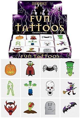 48 x Kindertattoos - Gespenstisches Halloween Kürbis Vampire Fledermäuse