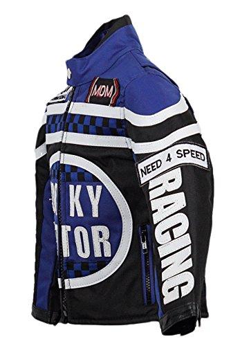 Biker Jacke für Kinder, Motorradjacke in blau, Racing Jacke (M)