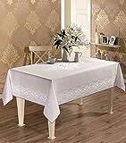 STRECKTAU Luxus Tischdecke Serie Made in der Türkei JP White Table Cloth 62.9 x 86.6 Inch