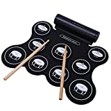 SODIAL Tragbare E-Drum-Lautsprecher Eingebaut Wiederaufladbare Fuenf Arten von Drum Tones Farbe Metronom-Funktion Externe Sound-Source-Eingang moeglich mit Pedal Stick Praxis Drum