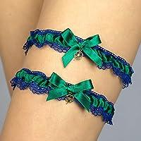 Set di Giarrettiera di pizzo nozze matrimonio sposa biancheria intima regali de nozze verde blu trifoglio irlandese