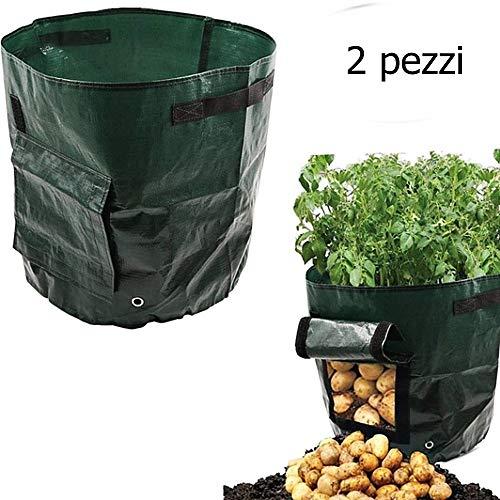 legisdream confezione 2 pezzi sacco per la coltivazione delle patate in pvc di colore verde accessorio ideale per chi ama coltivare l'orto