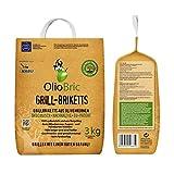 OlioBric Grillbriketts aus Olivenkernen, 3kg ✓ Ohne Rauch ✓ Kein Holz ✓ Keine Funken ✓ Lange Brenndauer | 100% Recycelte Grillkohle-Briketts für jeden Grill | Umweltfreundliche & rauchfreie Kohle zum Grillen
