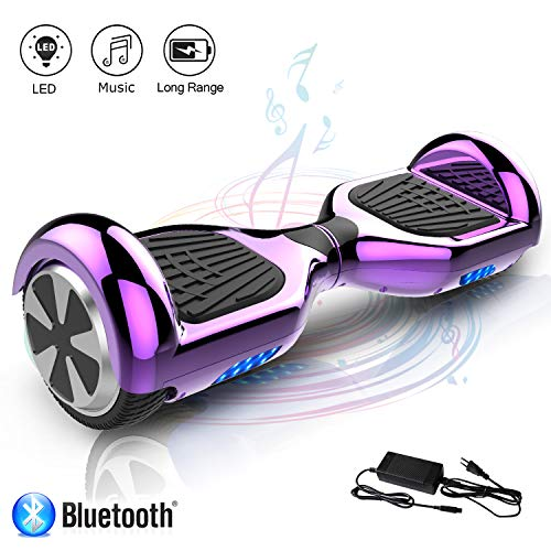 Kategorie <b>Zweirad E-Board (Hoverboard) </b> - COLORWAY Hoverboard Self Balance Board Elektro Scooter Roller EU Sicherheitsstandard, mit Bluetooth Lautsprecher (Chrom lila)