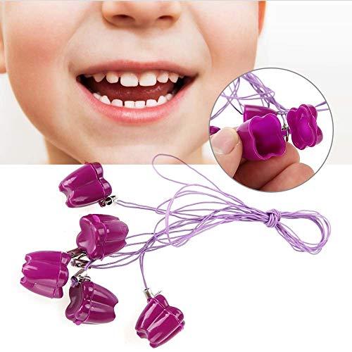 Box, 5 stücke Kunststoff Baby Milchzahn Aufbewahrungsbox mit Seil Zahn Saver Halsketten (Farbe : Purple) ()