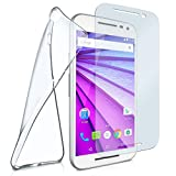 moex Silikon-Hülle für Motorola Moto G3 | + Panzerglas Set [360 Grad] Glas Schutz-Folie mit Back-Cover Transparent Handy-Hülle Motorola Moto G 3. Generation Case Slim Schutzhülle Panzerfolie