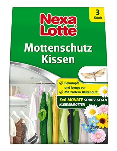 Nexa Lotte Mottenschutz Kissen mit Blütenduft, Mottenbekämpfung, Bekämpft und schützt vor Motten in Kleiderschränken, Schubladen, Kommoden, Truhen und allen Räumen 3 Monate lang, 3 Kissen