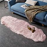 HEQUN Faux Lammfell Schaffell Teppich Kunstfell Dekofell Lammfellimitat Teppich Longhair Fell Nachahmung Wolle Bettvorleger Sofa Matte(Rosa, 60 X 160 cm)