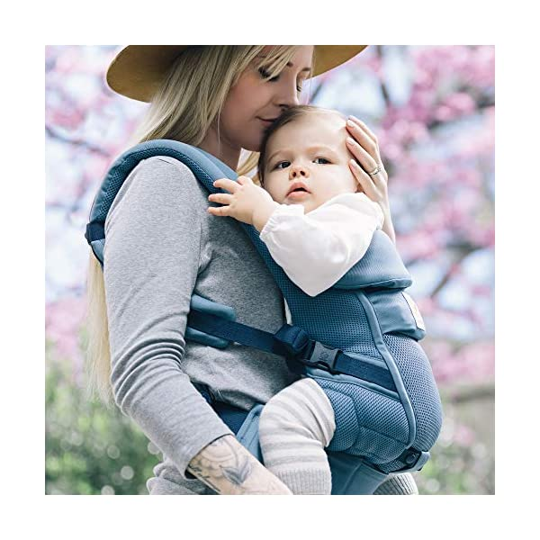 Ergobaby Baby Carrier for Newborn to Toddler up to 20kg, Cool Air Oxford Blue Adapt 3-Position Ergonomic Child Carrier Ergobaby Baby Carrier for newborns - The ergonomic bucket seat gradually adjusts to your growing baby, to ensure baby is seated in a natural frog-leg position (M-shape position) from newborn to toddler (3.2 to 20kg / 7-45 lbs). NEW - Now with lumbar support. Long-wearing comfort for parents with even weight distribution between hips and shoulders. Lumbar support waistbelt that can be adjusted to the height of the carry position for extra, long-wearing comfort. Adapt 3 carry positions: front-inward, hip and back. The carrier has a padded, foldable head and neck support and a tuck-away baby hood for sun protection (UPF 50+) and privacy. It is possible to breastfeed in the carrier. 5