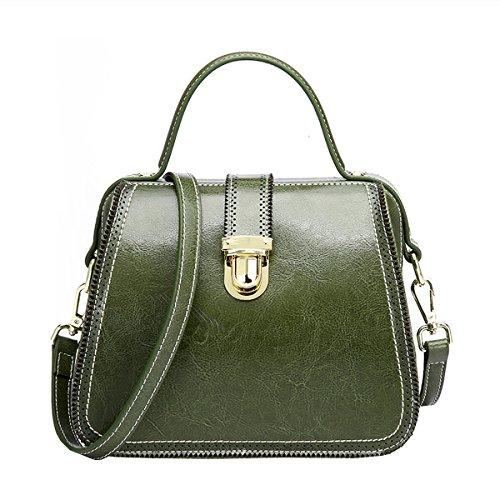 DISSA VQ0888 Damen Leder Handtaschen Satchel Tote Taschen Schultertaschen Grün