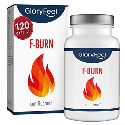 GloryFeel® F-BURN - Integratori Dimagranti | Brucia Grassi Potenti Veloci - per Uomini e Donne | 120 Capsule Vegane| Tè Verde, Caffè Verde e Guaranà