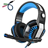Beexcellent GM-2 Pro Gaming Over-Ear Headset With Mic, LED Lights And Volume Control Stereo Bass, Noise Cancelling, 3.5mm, For PS4 Xbox One, Laptop, PC, Tablet, Most Smartphones (Blue)