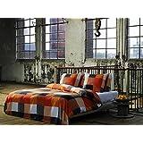 2 tlg. etérea Renforcé Baumwolle Bettwäsche Rian Kariert Karo Orange Grau Schwarz Weiß, 140x200 cm + 70x90 cm
