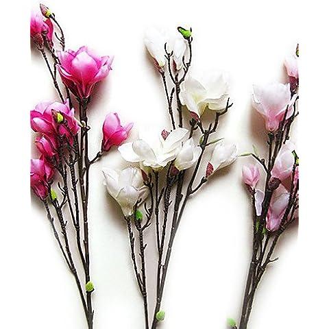 En la decoración del hogar de flores artificiales, Magnolia en tela de seda de flores artificiales para la decoración (10 piezas) , blanco