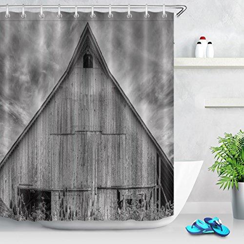 LB Personalizar Casa de madera gris Cortina de la ducha,Impermeable Resistente al moho Tejido de poliéster Cortinas de baño para baño, 180X180cm, 12 anillos