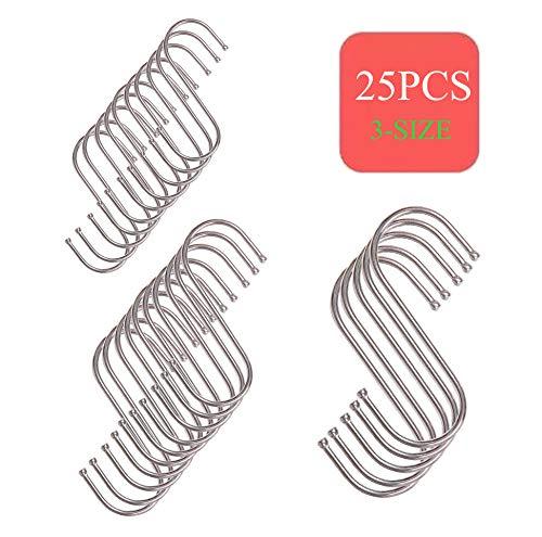 S-Form Haken, 3 Größe silberne Aufhänger zum Aufhängen von Töpfen und Pfannen, Pflanzen, Utensilien, Bechern, Handtüchern usw. - 25 Stück (5