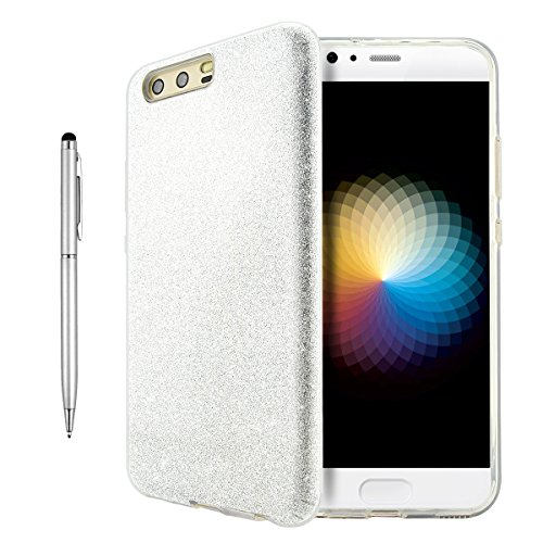 Huawei P10 Hülle, Fraelc® HUAWEI P10 Hybrid Case Bling Bling Glitzer Schutzhülle mit Silikon Gel Cover & Glitzerpapier & PC Plastik Schicht Handyhülle für Huawei P10 (5,1 Zoll) - Silber