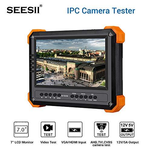 Seesii Netzwerktester CCTV Kamera Tester Monitor 4-in-1 AHD/TVI/CVBS Kameratester 7-Zoll Koaxial Tester Analog Video HDMI VGA Test 12V Ausgang - Rgb-koaxial