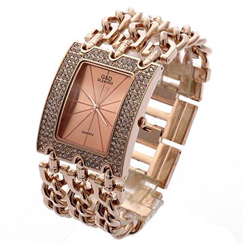Sheli Rose Gold Kristall Wasserdicht Analog Quartz Bold Armbanduhr für Frauen, 40mm
