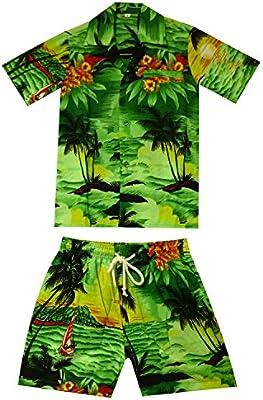 Original King kameha   Funky Hawaii Camisa y pantalones   2piezas Cabana   Niños   2–8años, Print de Hawaii, Surf Playa meer  verde