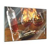 Memoboard 60 x 40 cm, Männermotive - Cognac und Zigarre - Glasboard Glastafel Magnettafel Memotafel Pinnwand Schreibtafel - Alkohol - Weinbrand - Cognacflasche - Cognacglas - Wohnzimmer - Schlafzimmer - Küche - Esszimmer - Bild auf Glas - Glasbild - Handmade - Design - Art