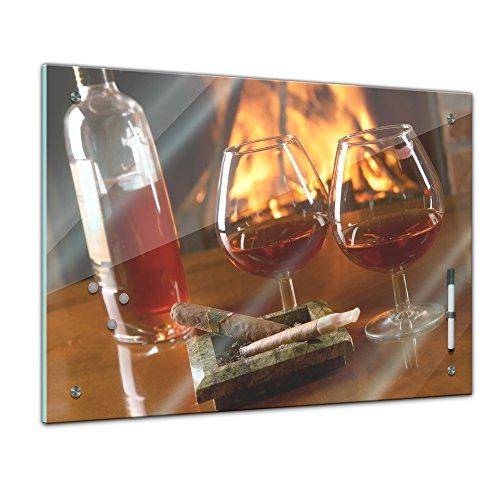 """Memoboard mit Winter SALE 60 x 40 cm, Männermotive, """"Cognac und Zigarre"""" Glasboard Glastafel Magnettafel Memotafel Pinnwand Schreibtafel - Alkohol - Weinbrand - Cognacflasche - Cognacglas - Wohnzimmer - Schlafzimmer - Küche - Esszimmer - Bild auf Glas - Glasbild - Handmade - Design - Art"""