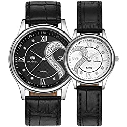 Koly 1 Pair Women Men Couple Watch Ultrathin Leather Romantic Fashion Lovers Wrist Watches 2pc