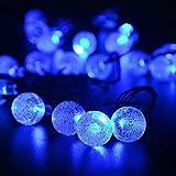 KEEDA Lichterkette Solarbetrieben Kristall-Kugel 60cm 30LEDs Wasserdicht für Haushalte, Außenbereich, Hof, Garten, Terrasse, Hochzeit, Weihnachten, Party