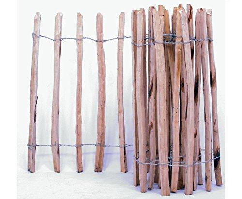 Holzzaun aus 3,5cm Kastanien Staketen mit 183x460cm, Lattenabstand ca. 8,5cm - Palisadenzäune Sichtschutzzäune Sichtschutzwand Gartensichtschutz Balkonsichtschutz Kastanienzaun