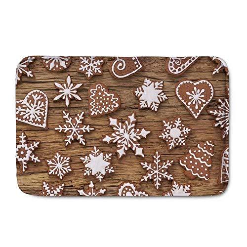 LIS HOME Weihnachten Indoor Fußmatten Schneeflocke Cookie Lustige rutschfeste Langlebig Waschbar Hause Dekorative Fußmatten Teppiche für Eingang Schlafzimmer Bad Küche Lis-cookie