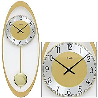 AMS 7417Quartz Wall Clock with Pendulum in Brass Printed Mineral Glass